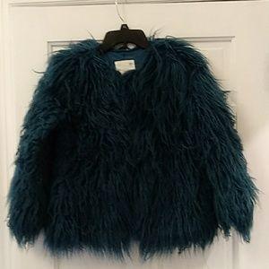 Girl faux fur jacket teal blue